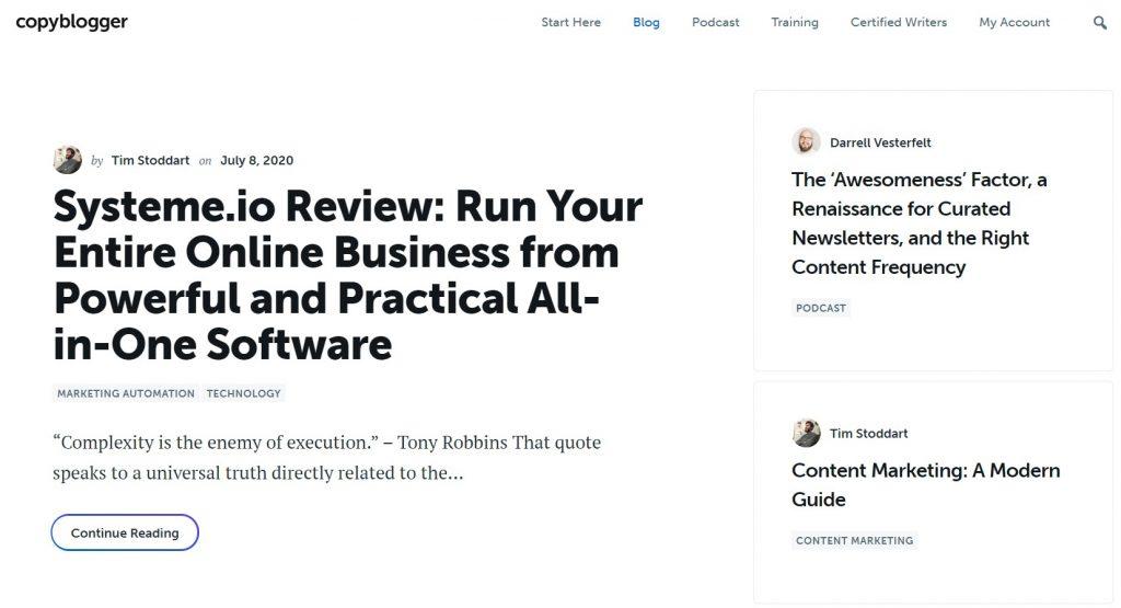 Copyblogger best for content marketing