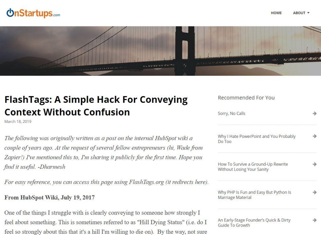 Onstartups startup blog- the best.